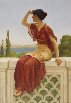 "John William Godward, ""The SIgnal,"" 1889. While her dress and setting hint at antiquity, the theme of the painting remains timeless: a young woman waiting for her lover to return."