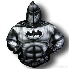 This hoodie is a full blown image of Batman screen printed on a full zip-up black hoodie. Very strange, but I'm curious to see someone mode. Batman Hoodie, Batman Suit, Im Batman, Superman, Zip Up Hoodies, Cool Hoodies, Hooded Sweatshirts, Batgirl, Catwoman