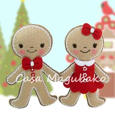 PDF Pattern - Gingerbread Ornament Felt Pattern - Boy & Girl - Christmas Ornament Sewing Pattern - Hand Sewing Project - Instant Download
