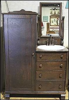Photo of Front View - Antique Bathroom Vanity: Antique Chef-Robe for Bathroom Vanity with Sink
