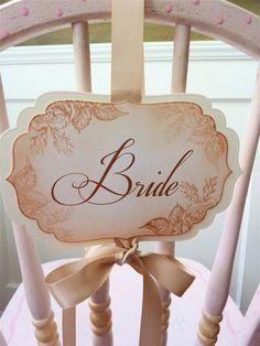 Shabby Chic Wedding Bride Groom Chair Signs by ifiwerecards, $24.50