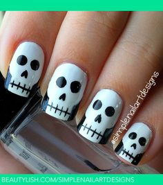 Halloween Skull Nails | simplenailartdesigns s.'s (simplenailartdesigns) Photo | Beautylish