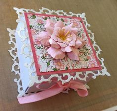 Gorgeous girly gift box made using spellbinders fluer de lys die and heartfelt creations Arianna blooms collection