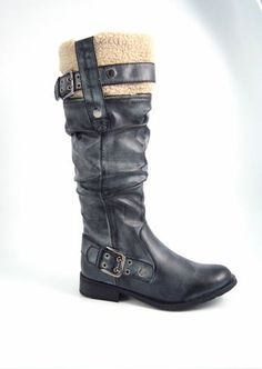 Long biker boots at an outstanding price of Ladies Footwear, Black Riding Boots, Biker Boots, Shoe Boots, Shoes, Slippers, Lady, Fashion, Moda