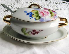 Hand Painted Soup Tureen Italy | Lefton China - Miniature Soup Tureen Covered Dish