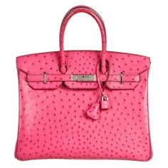 Hermes Fuschia (Pink) Ostrich Birkin 35cm Handbag SHW | From a collection of rare vintage top handle bags at https://www.1stdibs.com/fashion/handbags-purses-bags/top-handle-bags/