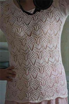 Красивый узор для летнего топа спицами. Схема красивого узора для летней кофточки.