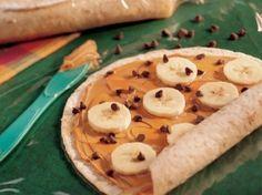 A wrap + PB + banana + choc. chips = kids lunch