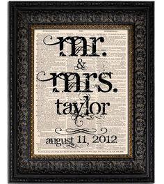 Custom Wedding Gift MR MRS Last Name Wedding Date Personalized Wedding Sign Vintage Art Print