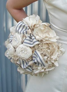 Rustic Country Fabric Bouquet - wedding, rustic wedding - Fabric Flower Bouquet, Fabric Bouquet on Etsy, € Wedding Bows, Wedding Fabric, Wedding Bouquets, Wedding Flowers, Dream Wedding, Wedding Ideas, Bridesmaid Bouquets, Summer Wedding, Wedding Photos