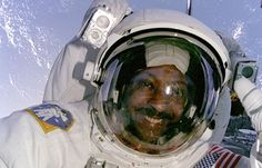 Astronaut Winston Scott as seen from inside space shuttle Columbia