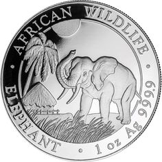 The 2017 Somalian Elephant 1oz Silver Coin features an elephant with its trunk in the air, walking across the Serengeti with a native hut and coconut tree in the background. Details of the coins weight and fineness also appear in the design. The edge of the coin reads 'AFRICAN WILDLIFE' and 'ELEPHANT'. The obverse of the coin bears the Somalian Coat of Arms and the date along with the monetary value. Minted at the Bavarian State Mint in Germany.  This coin weighs 31.10g and is 999.9 Fine…