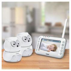 VTech Safe&Sound Owl Expandable Digital Video Baby Monitor with Pan & Tilt 2 Cameras VM344-2, Grey