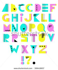 Hand drawn alphabet. Geometric funny font. Colorful vector letters. 80s - 90s style
