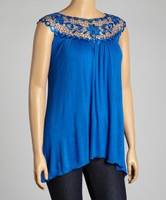 Look what I found on #zulily! Lapis Floral Lace Yoke Top - Plus by Simply Irresistible #zulilyfinds