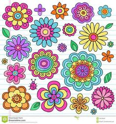 Chalk Drawings Sidewalk Discover Flower Power Flowers and Ladybug Groovy Psychedelic Hand Drawn. Flower Power Flowers and Ladybug Groovy Psychedelic Hand Drawn Notebook Doodle Design Elements Set on Lined Sketchbook Paper Background Doodle Art, Doodle Drawings, Flower Power, Doodle Designs, Designs To Draw, Doodle Ideas, Art Floral, Vintage Clipart, Graphics Vintage
