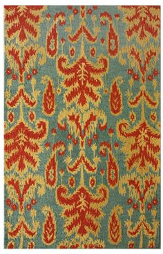 Red/orange and turquoise rug