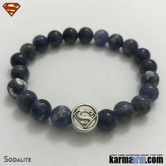 Superman Bracelets. DC Comics SuperHero Silver. Beaded Yoga. Black Onyx Handmade Bracelets. Law of Attraction #LOA. Blue Sodalite.