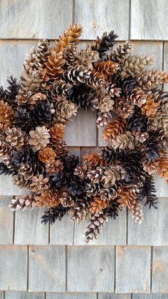 Maine rustique Pinecone Wreath - café et Caramel
