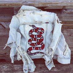 Vintage GUCCI-Esque Snake Patch Destroyed Denim Jacket by KUCHII