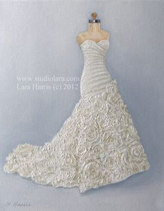 As seen on Style Me Pretty: CUSTOM Wedding Dress Illustration Painting in OIL by LARA 8x10 Bridesmaid Maid of Honor Mother of the Bride on Etsy, $145.00 (can't wait to have this done)