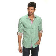 Prague Contrast Shirt Green, pop of paisley