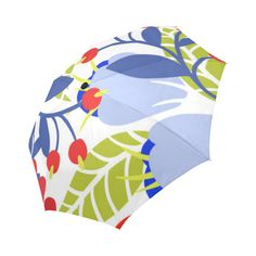 Red Blue Colorful Modern Floral Pattern Auto-Foldable Umbrella
