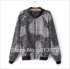 CT412 New Fashion Ladies' Hooded black white print Jacket vintage casual slim outwear brand designer tops