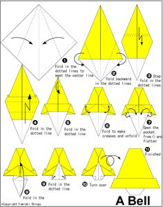 Bell Origami Folding Diagram and instructions Easy Origami Flower, Easy Origami For Kids, Useful Origami, Origami Flowers, Origami Cards, Origami Paper, Oragami, Origami Design, Origami Instructions