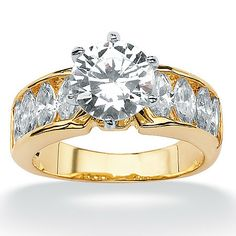 5.00 TCW Round Cubic Zirconia 14k Yellow Gold over Sterling Silver Anniversary Crisscross Ring