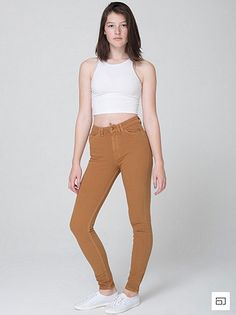 American Apparel Four-Way Stretch High-Waisted Side Zipper Pant in Camel $78
