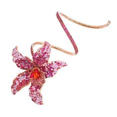 Pink orchid gold bracelet adorned with a large open flower set with rubies and pink sapphires - by Boule