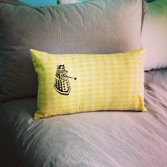 Cuddle Pillow I made for my sons bed! Who loves it??? #doctorwho #daleklove #dalek