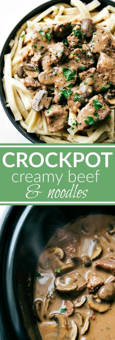 CROCKPOT CREAMY BEEF AND NOODLES! Delicious slow cooked beef, mushrooms, and gravy served over homestyle egg noodles. via chelseasmessyapron.com