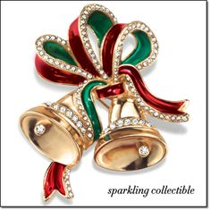 """2015 Holiday Bells Collectible Pin Ring in the holiday season with a traditional holiday pin. This 2015 collectible pin is goldtone embellished with red and green accents plus rhinestones for extra sparkle. 2"""" W. Brochure: $19.99"""