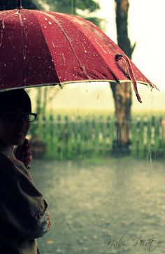 Beautiful rainy days under a red umbrella Red Umbrella, Under My Umbrella, Walking In The Rain, Singing In The Rain, Rainy Night, Rainy Days, I Love Rain, Cherbourg, Rain Photography