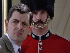Quick Clip------Mr Bean - Guard Picture --Mr Bean tries to take a picture of one of the Queen's guards but can't get the composition right. He cleans the guard and decorates him with flowers and his teddy. From 'Goodnight Mr Bean'. Mr. Bean, Ben Elton, Richard Curtis, Queens Guard, Comedy Skits, Funny Video Clips, You Make Me Laugh, British Comedy, Jim Carrey