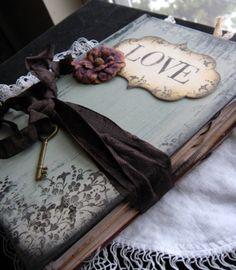 Wedding Guest Book Custom in Shabby Chic Style Black. $125.00, via Etsy.