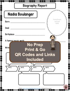 Introduce your young music students to female composer Nadia Boulanger and her music. This is an excellent addition to your Listening lessons! This resource contains: - TWO different FOLDABLES in BOTH COLOR AND B/W. - This foldable is a perfect accompaniment to foldable 1, or can be used on its own to respond to Nadia Boulanger's music during a listening lesson #mtr #musicteacher #musiced #musiceducation #musicteacherresources