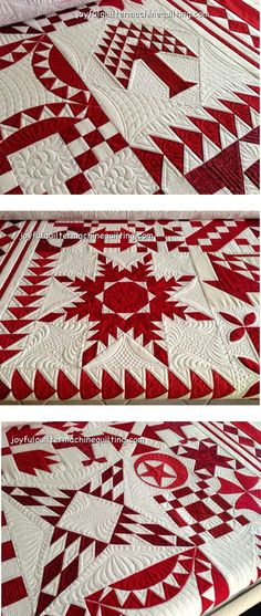 "close up photos, ""Red and White - by the Numbers"" by Barbara Black, quilted by Pam Dransfeldt at The Joyful Quilter. This is the feature quilt for the 40th anniversary celebration of the Houston International Quilt Festival (2014)."