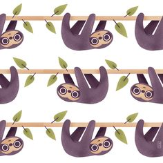 6/100 pattern from the #100dayproject on Instagram #illustration #pattern #kids #sloth