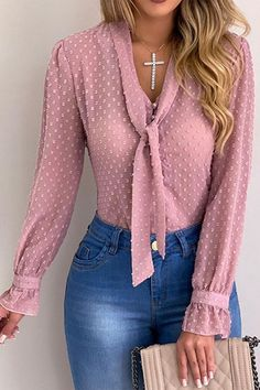 Polka Dots Lace-Up Tie Plain Long Sleeve Blusa de mujer # Blusa de mujer # w ... - #blusa #DE #Dots #LaceUp #Long #Mujer #plain #polka #sleeve #Tie
