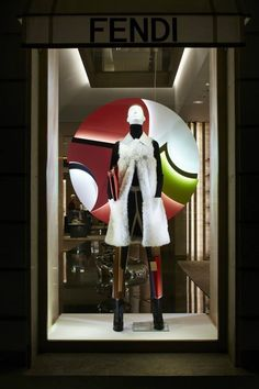 The Fendi FW15 collection displayed in the new boutique window theme in Paris.