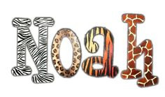 Wild Animal Print Wooden Wall Letters - Kids Decorating Ideas