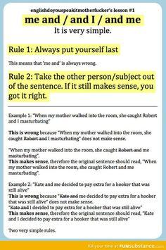 English grammar and me vs. and I