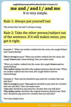 2 rules for using me and I. #writing #grammar