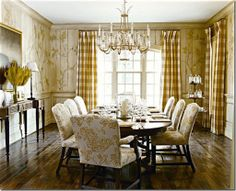 Niermann Weeks Swedish Crystal Chandelier hangs in the dining room of the 2005 Southern Accents Showhouse in Washington, DC. Interior design by Harrison Design Associates. Decor, Gold Dining Room, Room, Interior, Home, Dining Room Design, Gold Dining, Formal Dining Room, Country Living Room