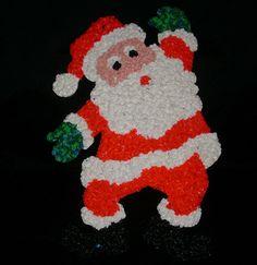"18"" VINTAGE CHRISTMAS SANTA CLAUS MELTED PLASTIC POPCORN DECORATION HAND MADE"