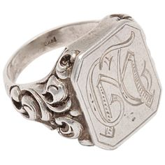 Victorian Repousse Signet Ring in Silver, English, c.1880