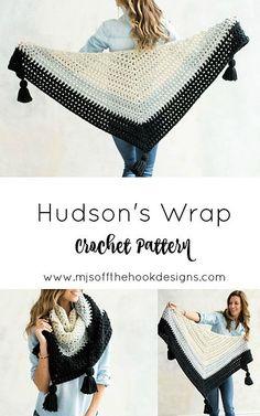 Crochet Poncho Ravelry: Hudson's Wrap pattern by MJ's Off The Hook Designs Crochet Wrap Pattern, Crochet Poncho, Crochet Beanie, Crochet Scarves, Crochet Clothes, Crochet Lace, Crochet Patterns, Ravelry Crochet, Crochet Designs